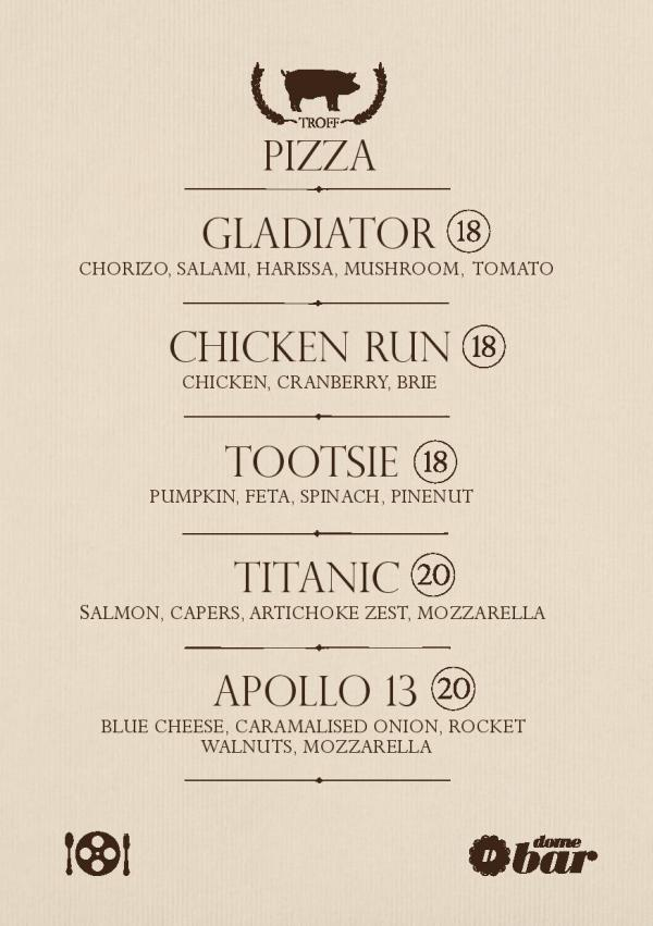 Troff Pizza Menu